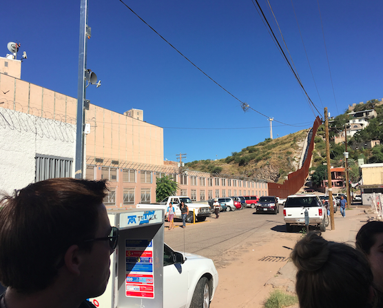 Students take in the view of the Mexico/Arizona border in Nogales, Mexico. Photo taken by Ellie O'Donoghue.