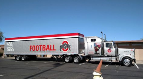 The Ohio State Buckeyes pull onto campus to practice for the Fiesta Bowl. Both the football team and marching band used NDP facilities.