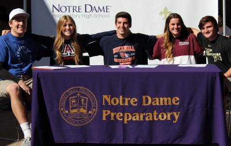 Athletes Jakob Gallagher, Chelle Mahoney, Dany Teran, Julia Taffuri and Grayson Naquin after signing letters of intent. Photo: Amanda Rief