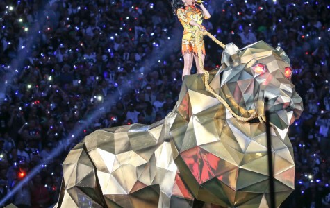 Singer Katy Perry performs during the Pepsi Super Bowl Half Time Show.