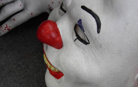 Clown spotting is not uncommon in Bangor, Maine, home of horror writer Stephen King. Yearbook adviser Rebecca Strolic took the above photo during a tour there Saturday. Mrs. Strolic has read all but one of King's 55 books.