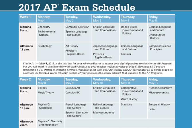 AP exam schedule for 2017.