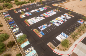 Drone view of senior parking lot