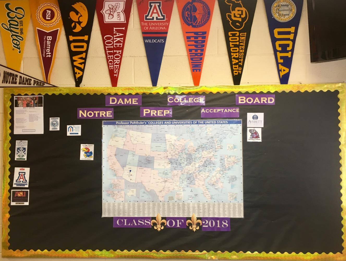 Notre Dame Prep college acceptance board (Andrew Lindbloom/The Seraphim).