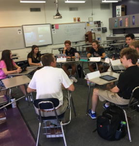 Students in the Medical Ethics Honors class engage in a seminar with teacher Mr. Coast. (Sarah Ziemann/The Seraphim)