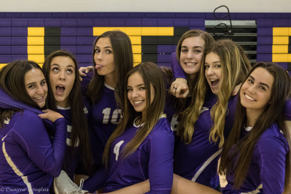 From left, Lindsay DesMarais, Sophia Graziano, Michelle Gienko, Sayler Butters, Nicole Shuhandler, Sophia Sydenham, and Devin Douglas share a laugh after a victory (Dwayne Douglas/Special to The Seraphim)