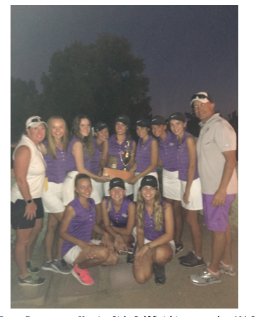Golf team and coaches pose with their trophy (Dianna Wilson/Special to The Seraphim)