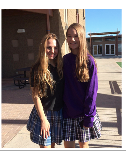 From left, eighth grader, Kela Lakin tours campus with freshman, Jordyn Vesely (Anna Sera/ The Seraphim)