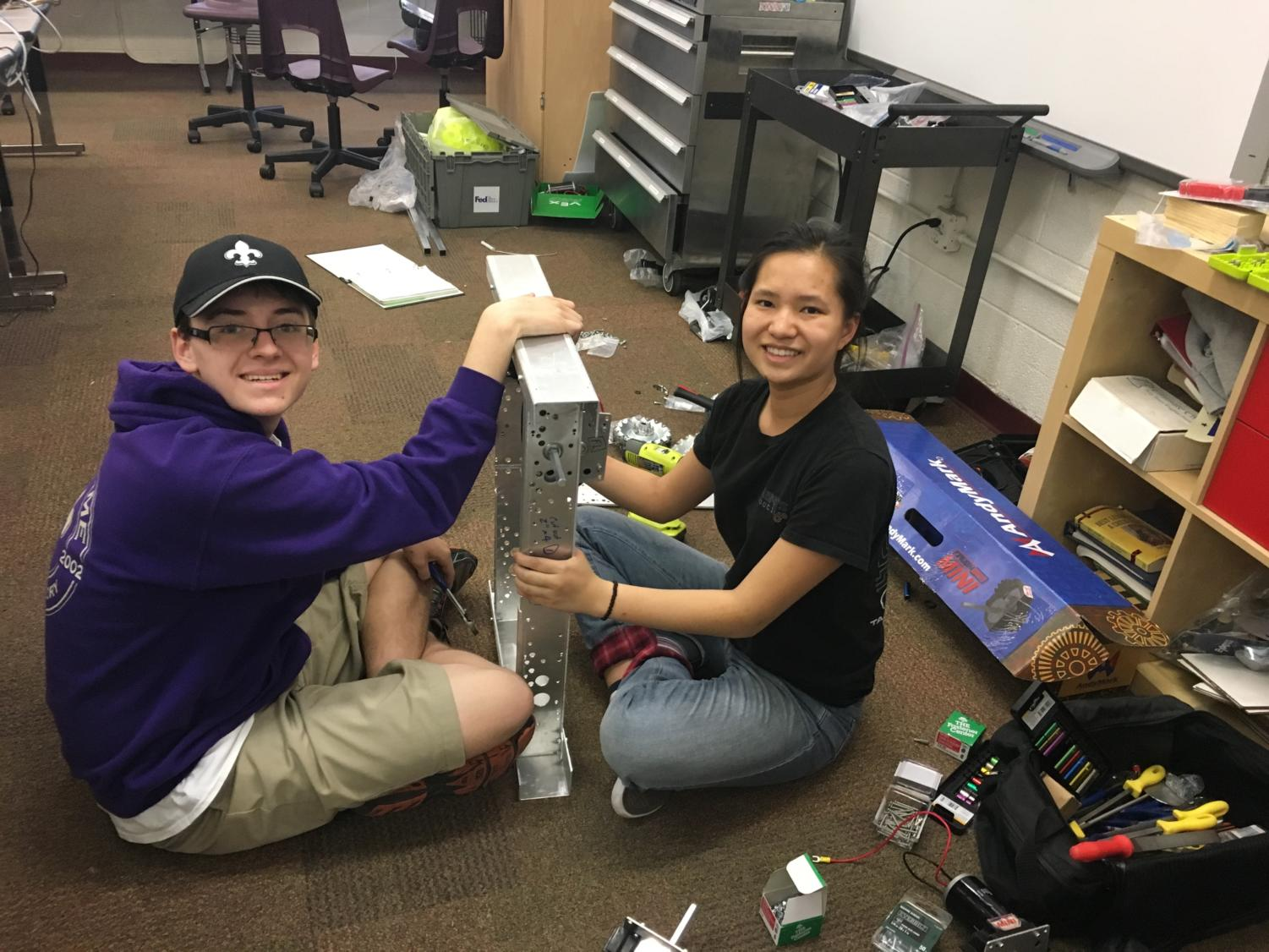 Seniors Devon Lauffer and Sophia Asta working on a project (Jerry Asta/Special to the Seraphim
