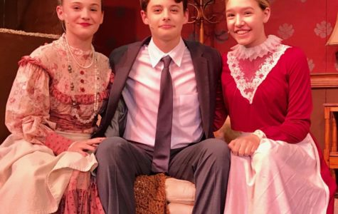 Cast members of Arsenic and Old Lace from left, Lauren Skemp, Bennett Curran, and Kendall Luther