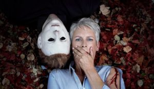 Michael Myers and Jamie Lee Curtis, who stars in the latest remake of Halloween.