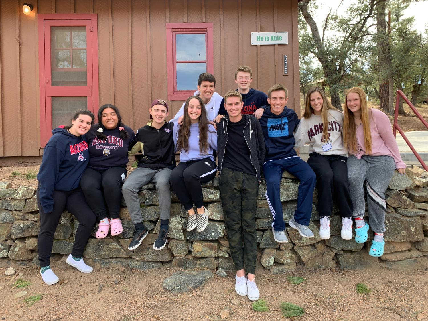 Kairos candidates pose for a group while on the recent spiritual retreat.