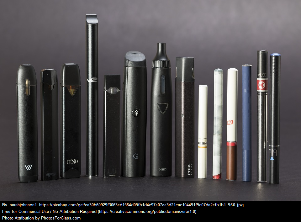 The JUUL is the fifth e-cigarette from the left. While JUUL is the brand name most students use the term