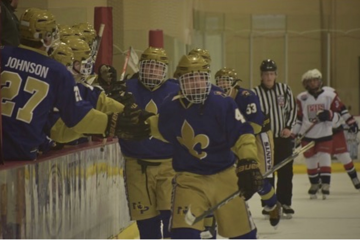 NDP celebrating after scoring a goal against Pinnacle. (Mike Harvey)