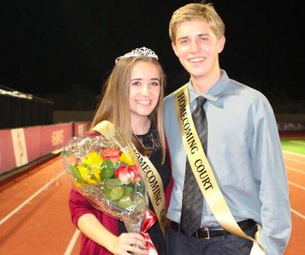 Rachel Bateman and Dylan Benvenuto standing together after winning 2016-17 Homecoming King and Queen as freshmen
